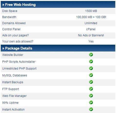 ücretsiz hosting ikincisinin özellikleri